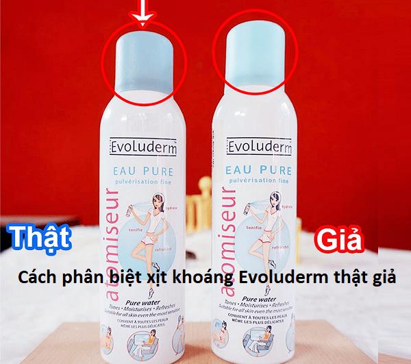 Cách phân biệt xịt khoáng Evoluderm thật giả chính xác nhất. Xịt khoáng Evoluderm chính hãng 150ml, 400ml mua ở đâu tốt?