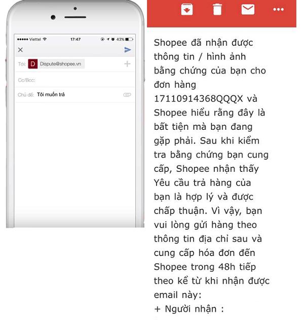 Trả hàng trên shopee, Bạn gửi khiếu nại và Shopee sẽ phản hồi từ 2 - 5 ngày