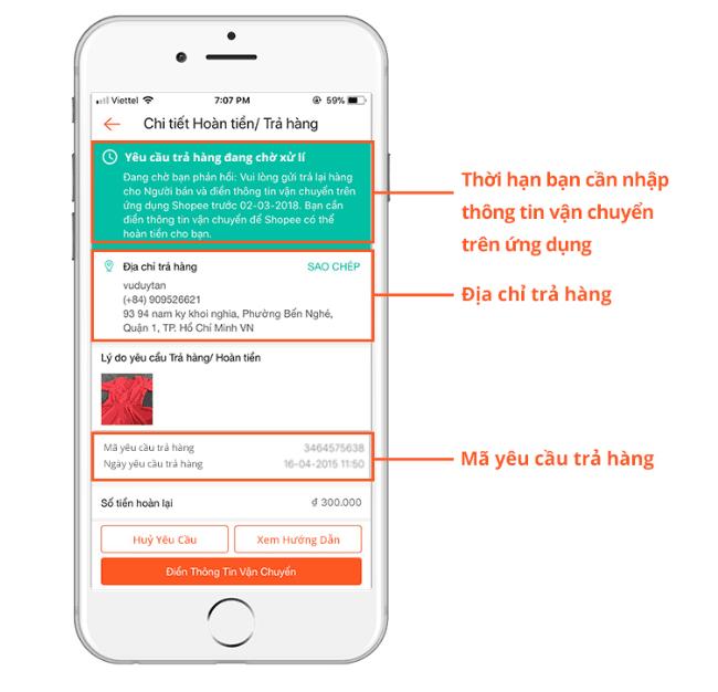 Trả hàng trên Shopee, thời hạn, địa chỉ trả hàng cho người bạn