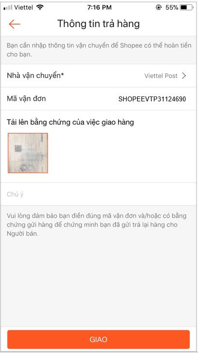 Trả hàng trên Shopee, Điền thông tin hóa đơn, mã vận đơn lên ứng dụng Shopee