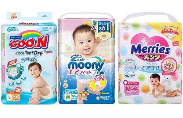 Nên mua loại bỉm nào cho bé: Merries, Moony, Goon, Bobby hay Huggies?