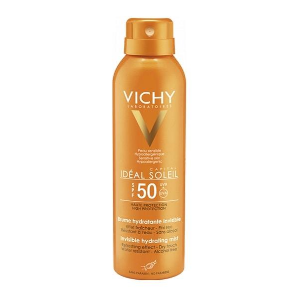 Kem chống nắng Vichy có tốt không: Xịt chống nắng Vichy Ideal Soleil Invisible Hydrating Mist SPF 50 PA+++
