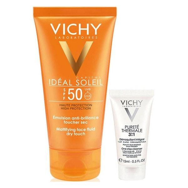 Kem chống nắng Vichy có tốt không? Kem chống nắng Vichy Ideal Soleil Mattifying Face Fluid Dry Touch SPF 50 PA+++
