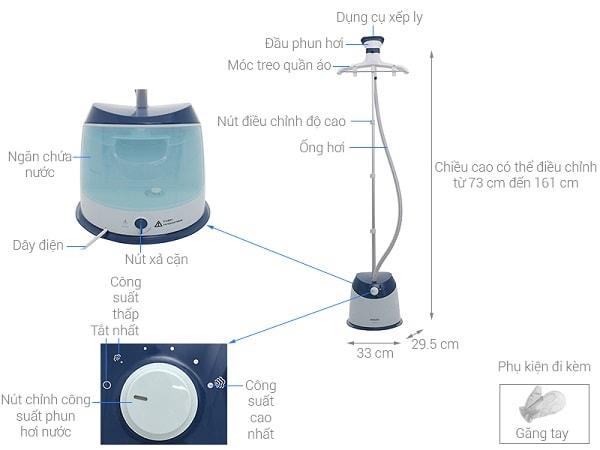 TOP 5 bàn là hơi nước đứng tốt nhất hiện nay: Bàn là hơi nước đứng Philips GC518