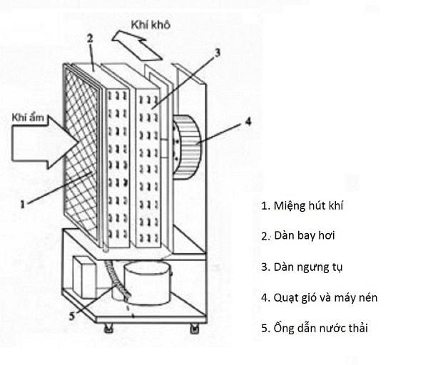 TOP 5 máy hút ẩm tốt nhất hiện nay: Cấu tạo của máy hút ẩm ngưng tụ