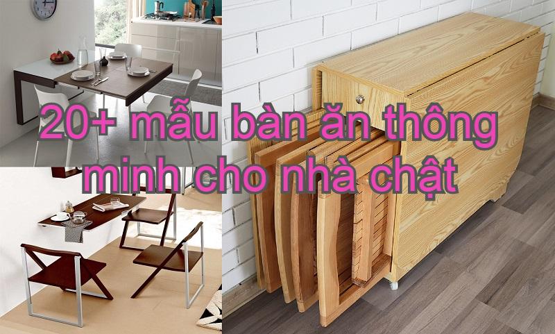 Bộ bàn ăn thông minh gắn tường tiện dụng. Mẫu bộ bàn ghế ăn thông minh