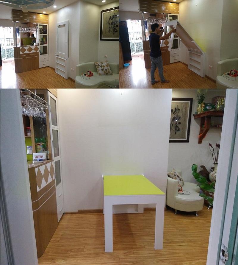 Mẫu bàn ăn thông minh gắn tường
