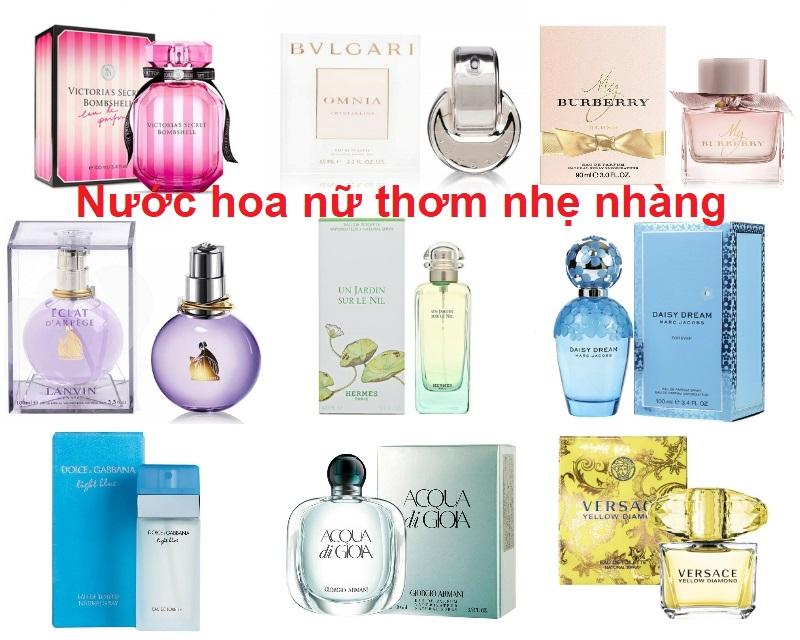 Top nước hoa nữ mùi nhẹ nhàng thơm lâu